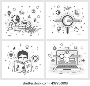 Set of vector illustrations in modern linear style, online education, search for knowledge and the pursuit of excellence, self-education and development, online tutorial.