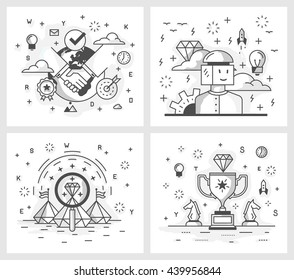 Set of vector illustrations in modern linear style, conclusion of a deal, search for ideas, source of inspiration, achievement of results, the quality check.