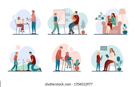 Set of vector illustrations with modern mothers and fathers tutoring little sons and daughters while performing family education program at home