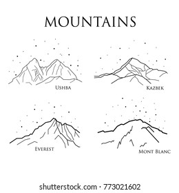 set of vector illustrations of mountain peaks