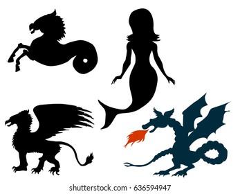 set of vector illustrations of mythological creatures