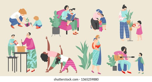 Set of vector illustrations on the theme of motherhood with cute moms and their children doing everyday activities such as gardening, music, cooking, reading books, traveling and doing fitness
