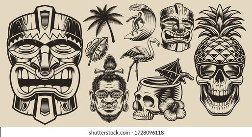 Set of vector illustrations on the theme of surfing, Hawaii, vacation on a light background.