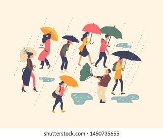 Set of vector illustrations on various people walking in rain holding umbrellas . Miserable rainy and windy day on a street concept design. Passersby in stormy autumn or fall season weather