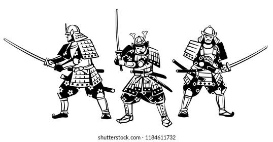 Set of vector illustrations of samurai. Hand drawn illustration.
