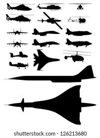 set of vector illustrations of silhouettes of aircraft.