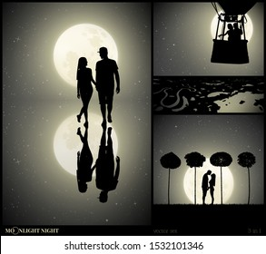 Set of vector illustrations with silhouettes of people in park on moonlit night. Two lovers walk after rain. Lovers flying in balloon. Loving couple between trees. Full moon in starry sky