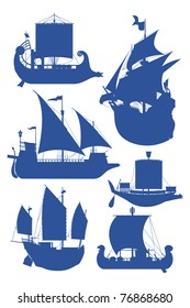 set of vector illustrations of silhouettes of sailing ships