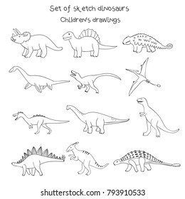 Set of vector illustrations of sketch black and white contour outline primitive dinosaurs drawn with a tablet, hand drawn imitation, children's drawings style