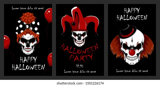Set of vector illustrations with skulls of evil clowns. Halloween illustrations. Evil clowns. Set of design elements for cards, flyers, banners, posters.