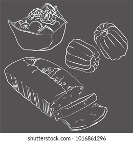 A set of vector illustrations of a sliced pound cake, cream and fruit filled tartlet and french canele pastry, white sketch on a grey chalkboard