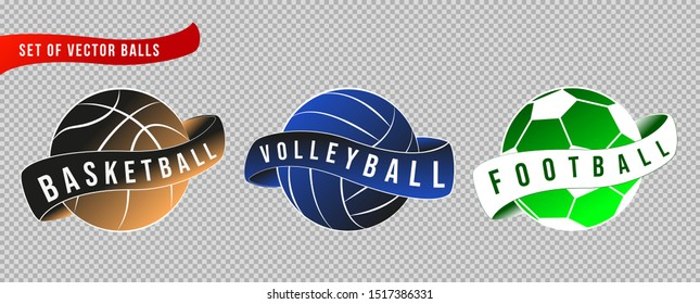 Set of vector illustrations, sport logos and balls.  Collection of soccer, basketball and volleyball balls with a ribbon on a transparent isolated background.