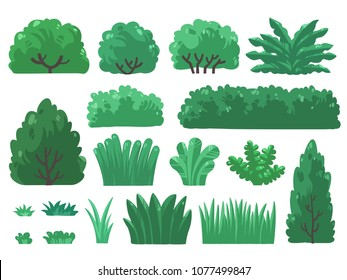 Set vector illustrations of tree and bush in minimal design. ( Isolated  on background) Part 3