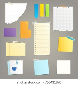 Set of vector illustrations of various paper leaves for notes, reminders in a realistic style isolated on a gray background.Copy space for messages, text.
