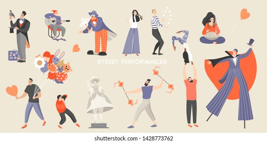 Set of vector illustrations of various street performances. Big festival of street culture and entertainment. Isolated characters of street musicians, acrobats and performers