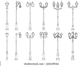 Set vector illustrations of vintage artistic decorative lamppost (drawn in ink).