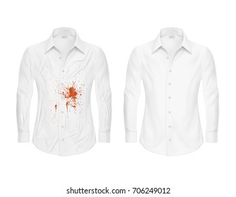 Set of vector illustrations of a white shirt with a red stain from ketchup, blood and clean ,wrinkled and ironed shirts before and after a dry cleaning isolated on a white background.
