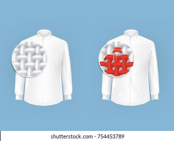 Set of vector illustrations of white shirts with magnifying glass for viewing fibers, fabric threads isolated in realistic style. White man shirt with red spot before and after dry cleaning.