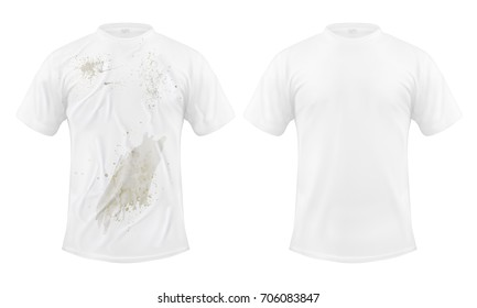 Set of vector illustrations of a white T-shirt with a dirty stain and clean, before and after dry cleaning, isolated on a white background. Print, template, design element