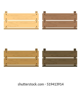 Set of vector illustrations of wooden vegetable box with holes. Fruit drawer front view. Crate isolated on white background. Box for storage and transportation of food. Flat style design