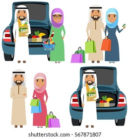 Set of vector illustrations. A young family of ethnic Arabs make purchases. Shopping. Food. Happy people
