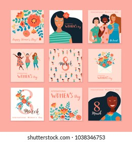Set of vector illusttation. 8 march, International Women's Day. Vector template with lettering design.