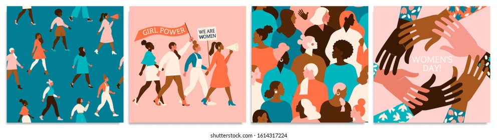 Set of vector illusttation. 8 march, International Women's Day. Feminism concept design. Vector templates for card, poster, flyer and other users.