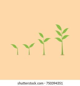 set vector ilustrasion of shoots tree with leaf leaf