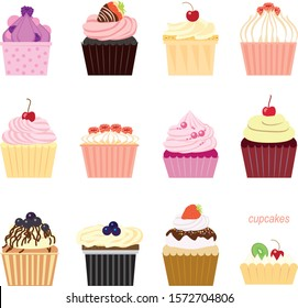 Set of vector images. Cupcakes, cake. Different shape, bright colors and decorations. Cream, whipped cream, icing, chocolate, jelly, berries. Delicious and beautiful holiday pastries.