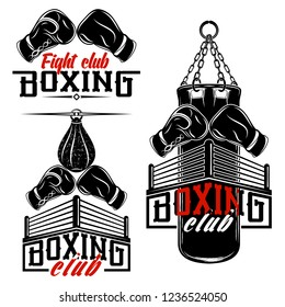 Set from the vector images devoted to boxing. Boxing gloves, ring, punching bag. Inscriptions - Boxing, Fight club. Illustrations for t shirt print. Cool grunge print. Vector illustration.