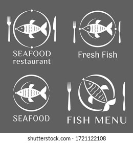 Set of vector images of fish on a plate. Nearby are cutlery fork and knife. Logo template, icon, pictogram of a fish restaurant, menu, company, fresh seafood store.