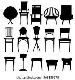 a set of vector images furniture: stools, chairs, armchairs