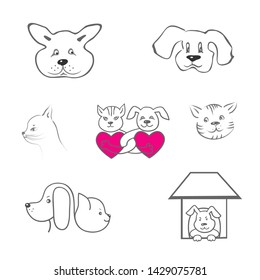 Set of vector images of logos of cats and dogs black outline on white, hand drawing.