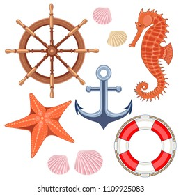 Set of vector images on a marine theme