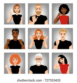 Set of vector images of people with different emotions.  Gestures