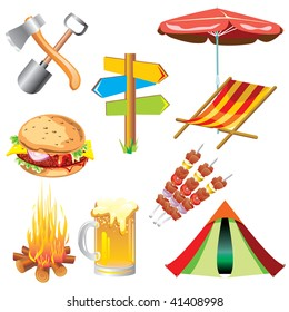 set of vector images of the picnic theme