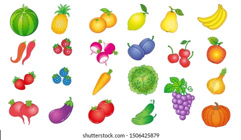 Set of vector images of ripe vegetables, berries and fruits in cartoon style. Colored icons watermelon, cabbage, lemon, orange, pineapple, banana, pepper, eggplant, carrot, radish, strawberry, raspber