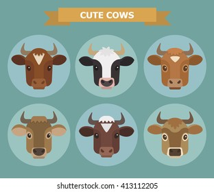 Set of vector images of six breeds dairy cows. Cute Cow faces. Cow heads.