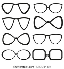 Set of vector images of spectacle frames on a white background. Vector isolated drawings.