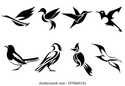 Set of vector images of various birds such as heron hummingbird magpie falcon seagull and Spigot bulbul Good use for symbol mascot icon avatar and logo