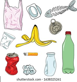 Set of vector images of various types of garbage. Contains images such as Banana Skin, Fish Bone, Trash and more.