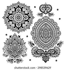 Set of vector Indian floral ornaments. Mandala. Henna