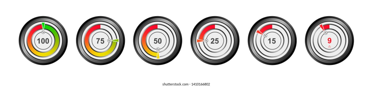 Set of vector indicator of the level of the battery, oxygen, capacity, energy. Round percentage diagrams from 9 to 100 for web design, ui or infographic.
