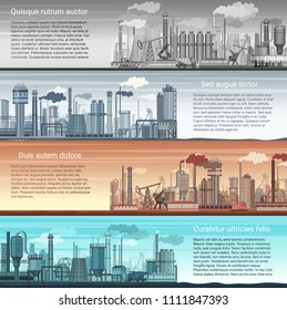 Set of vector industrial factory banners landscape. Abstract Factory, Oil and gas refinery, Chemical Manufacture. Inforgraphic template posters.
