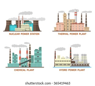 Set of vector industrial flat illustration of different types of power plants. Conception of making energy and pollution of the environment. Nuclear, thermal, hydro, chemical energy. EPS 10