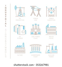 Set of vector industrial icons and concepts in mono thin line style