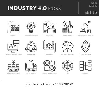 Set of vector industry 4.0 icons. Icons are in flat / line design with elements for mobile concepts and web apps. Collection of modern infographic logos and pictograms.