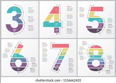 Set of vector Infographic design template with  3, 4, 5, 6, 7, 8 options or steps. Business concept. Can be used for presentations banner, workflow layout, process diagram, flow chart, info graph