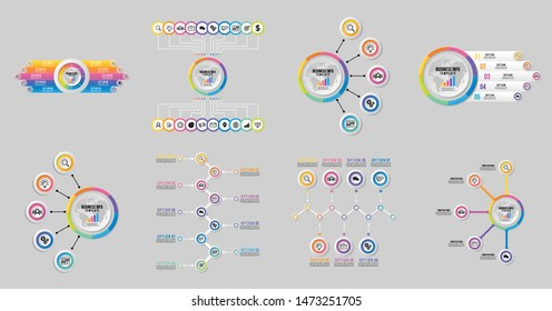 Set of Vector Infographic Design Template with Options Steps and Marketing Icons can be used for info graph, presentations, process, diagrams, annual reports, workflow layout