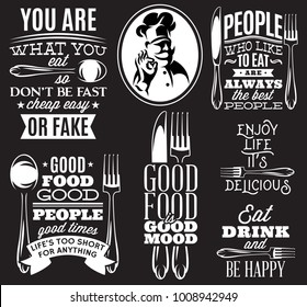 set of vector inscriptions in retro style on theme of eating with cutlery and chef